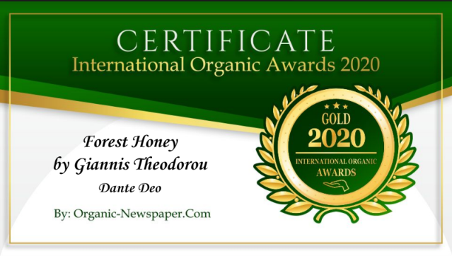 Dante Deo Forest Honey by Giannis Theodorou has received a Gold Award in International Organic Awards 2020, awarded by Organic-Newspaper.com.