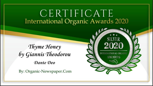 Dante Deo Thyme Honey by Giannis Theodorou has received a Silver Award in International Organic Awards 2020, awarded by Organic-Newspaper.com.