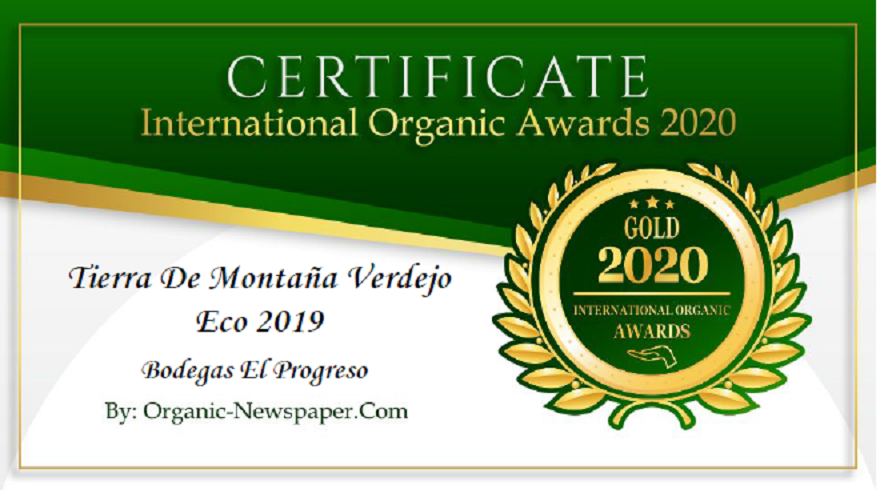 TIERRA DE MONTAÑA VERDEJO ECO 2019 has received a Gold Award in International Organic Awards, awarded by Organic-Newspaper.com.