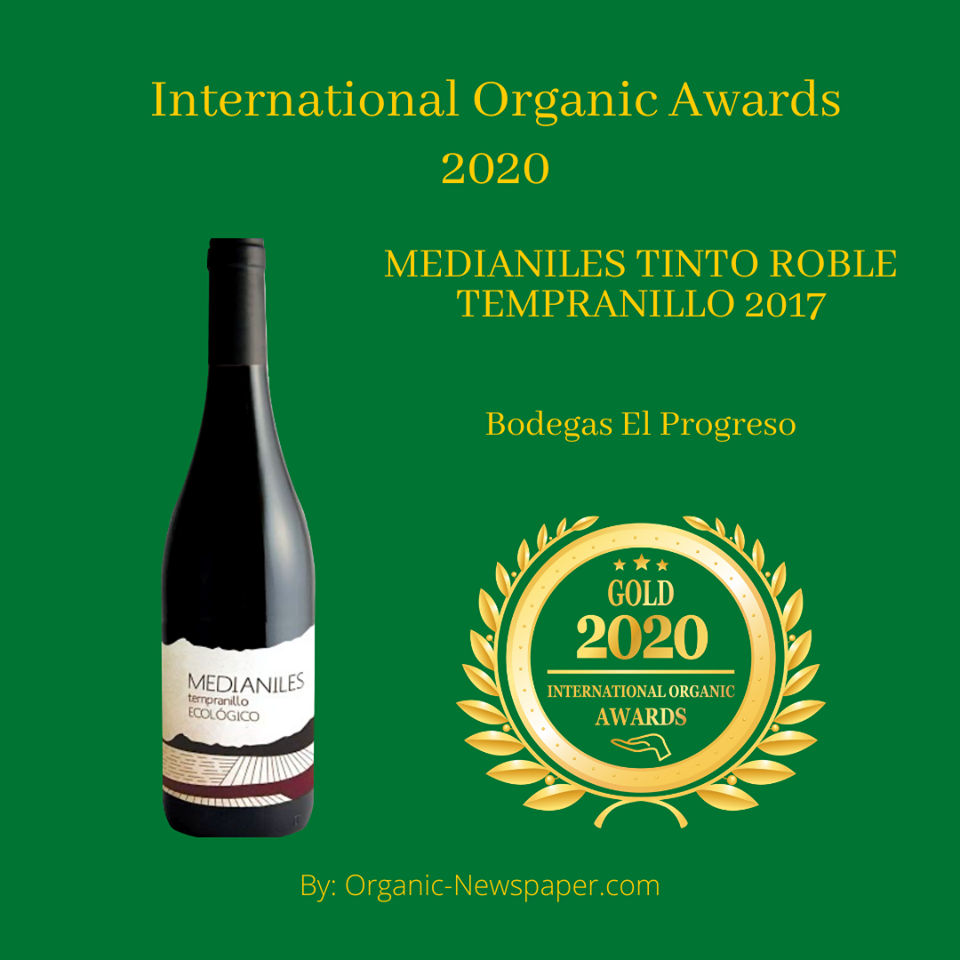 MEDIANILES TINTO ROBLE TEMPRANILLO 2017 has received a Gold Award in International Organic Awards, awarded by Organic-Newspaper.com.